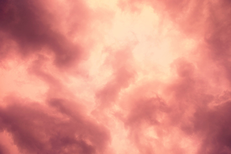 sunligh: Beautiful evening sky with pink and red clouds. Stock Photo