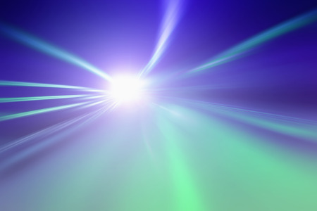 acceleration: Abstract tunnel bright blue green lights acceleration speed motion blur Stock Photo