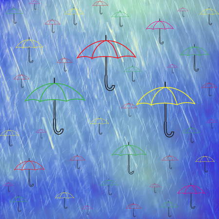 many coloured: Illustrated many colorful umbrellas on rainy blue colored background with place for text message Stock Photo