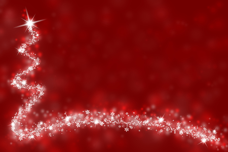 winter card: Red Christmas illustration background with snowflakes, stars and space for text message. Stock Photo