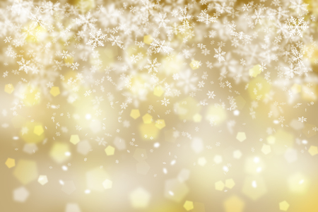 Fantasy golden abstract snowflake Christmas illustration background. Stock Photo