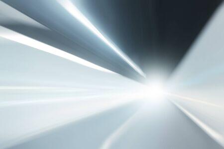 Túnel de prata azul movimento luzes da cor velocidade aceleração borrão com efeito de alargamento luz. Borrão de movimento visualizies a velocidade e dinâmica.