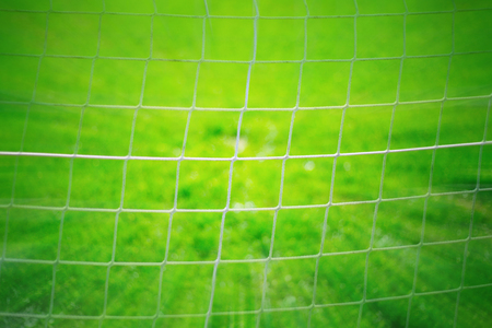 Abstract soccer goal net pattern background. Zoom photo effect used. Stock Photo