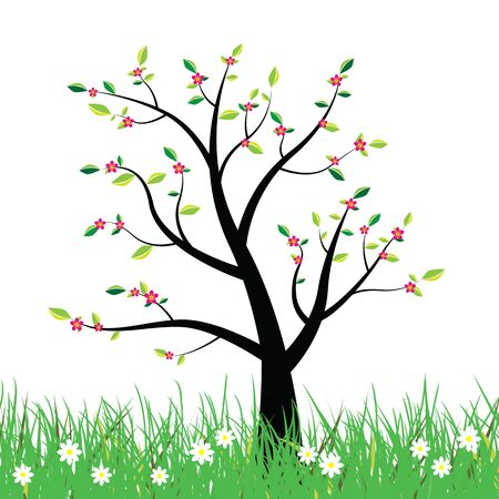 flowering: Flowering spring tree with yellow green leaves on flowery meadow illustration. Stock Photo