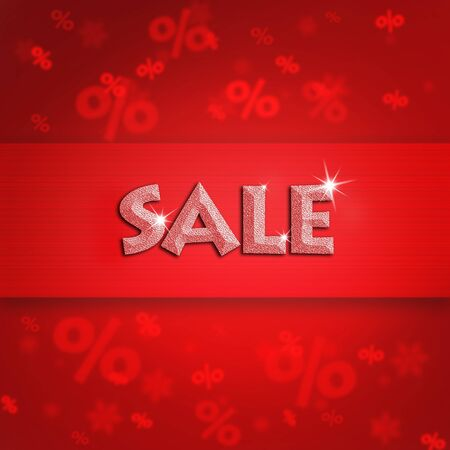 procent: Beautiful holiday sale on red background illustration with blurred snowflake and procent sign.