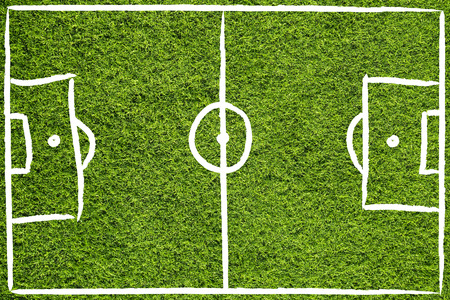 sideline: Hand drawn (sketch style) soccer field or football field on sunny green grass background. Stock Photo