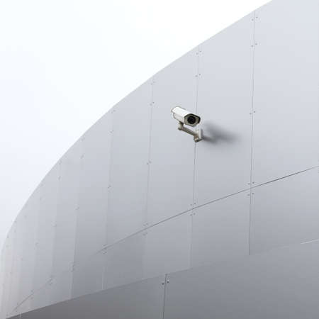 big brother spy: Closeup of white securitiy camera on the new silver building. Stock Photo