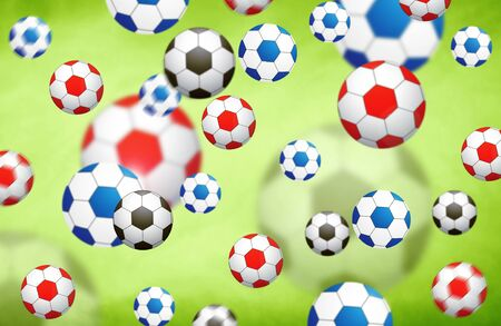 soccer balls: Abstract soccer balls. Red, blue and black color blurred soccer balls on bright green illustration background. Selective focus used. Abstract colorful illustrated soccer ball background.