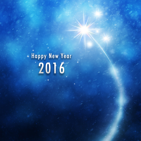 pyrotechnics: New Year 2016 illustration background with fireworks and snowflakes background. Stock Photo