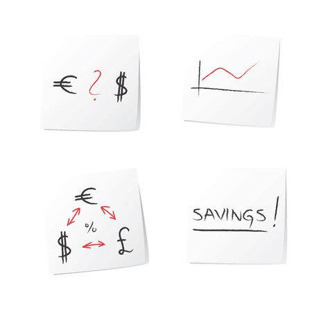 cut or torn paper: Abstract business money currency euro, dollar, pound symbols, graph hand drawing (illustration) on white sticky paper on wall (isolated on white).