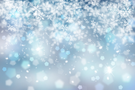 Blurry abstract snowflake Christmas illustration background.