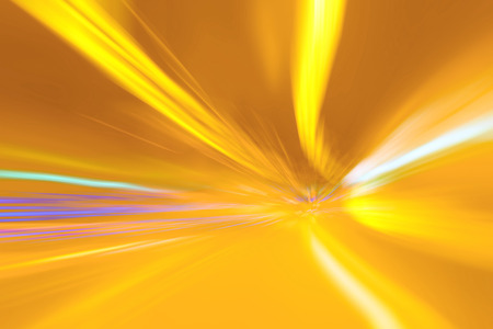 speed line: Tunnel bright orange and yellow lights acceleration speed motion blur. Motion blur visualizies the speed and dynamics.