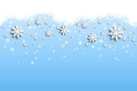 december background: Winter abstract snowflake illustration with soft blue background.