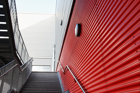 building entrance: Closeup of industrial hall with stairs. Stock Photo