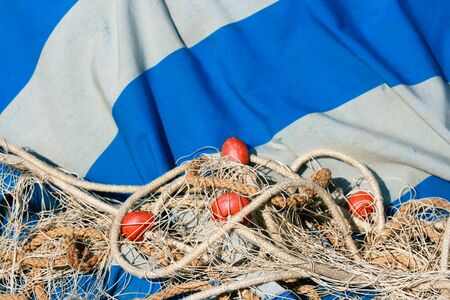 fisher: Old fishing net for professional mediterranean fisher boat. Stock Photo