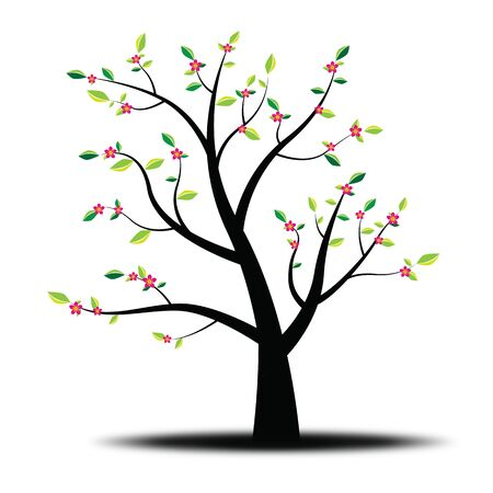 flowering: Flowering spring tree with shadow illustration. Stock Photo