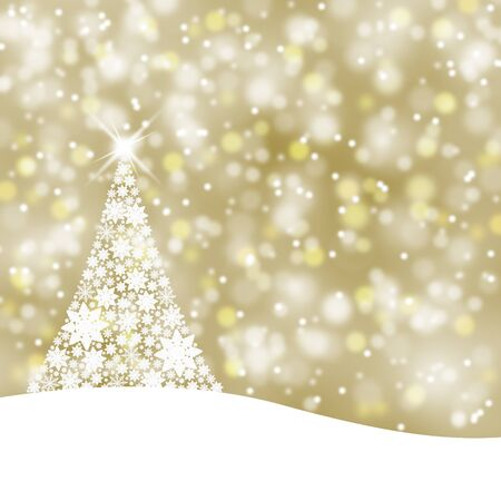 gold christmas background: Bright gold color background illustration with beautiful snowflake Christmas tree and sparkle. Stock Photo