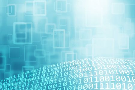numbers background: Abstract bokeh turquoise color with binary code numbers stream background.