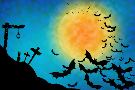 gallows: Halloween illustration blue background with gallows, owl, bats and moon. Stock Photo