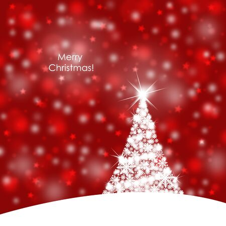 christmas greeting card: Red color Merry Christmas background illustration with beautiful snowflake Christmas tree and sparkle.