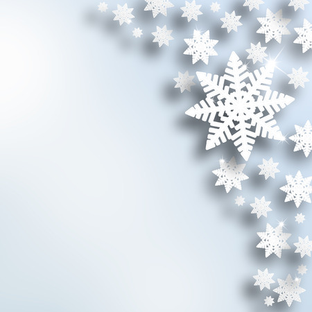 Christmas abstract snowflake illustration with silver blue color background. Winter holiday greeting card copy space background.