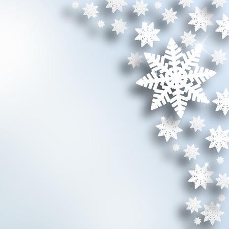 Ilustraci�n de la Navidad del copo de nieve abstracto con la plata de fondo color azul. Vacaciones de invierno Fondo de la tarjeta de felicitaci�n de copia espacio.