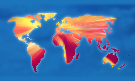 Global warming on the world map illustration.