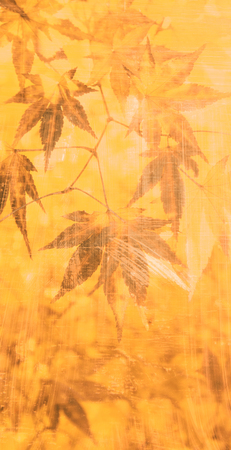 autumn grunge: Autumn grunge artistic maple leaves (vertical format). Grunge and color filter effect added. Stock Photo