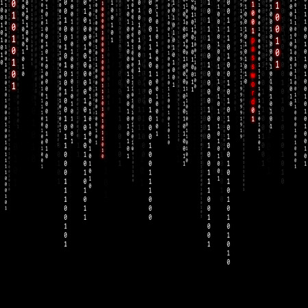 encode: Conceptual matrix binary code with password word background. Safety computing falling binary code on black background. Stock Photo