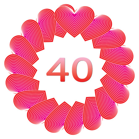 40 years: Anniversary happy birthday sign for 40 years illustration. Stock Photo