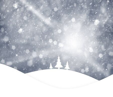 winter scene: Lovely silver blue colored sky with realistic heavy snowfall and sparkle, Christmas and New Years Holiday winter landscape scene with trees on hills. Illustration greeting card with copy space background. Stock Photo