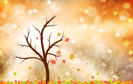 change of seasons: Magical colorful autumn season tree with red, yellow, orange, green and golden color leaves in the wind and floor. Beautiful autumn season tree with leaves illustration with copy space background.