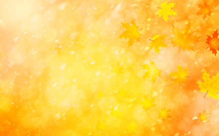 copyspace: Lovely colorful autumn season blurred leaves on blurry bright golden color bokeh background. Autumn season leaves illustration with copyspace background. Stock Photo