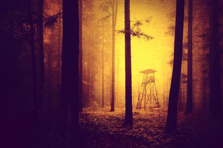 cazador: amarillo color claro oscuro y aterrador roja grunge en el bosque con la torre de la caza. Torre de la caza bosque de color de Halloween con efecto grunge.