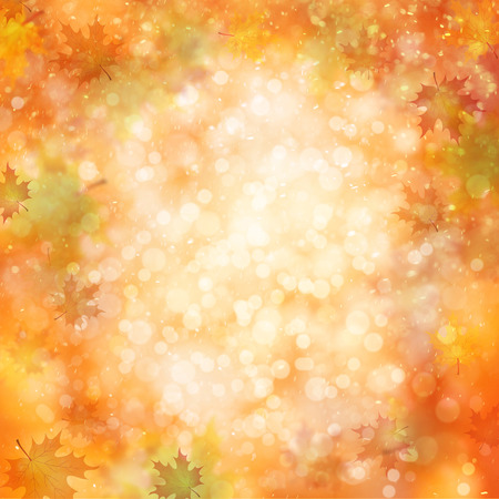 Colorful autumn season blurred leaves on blurry bright orange red bokeh background. Autumn season illustration with copyspace background.
