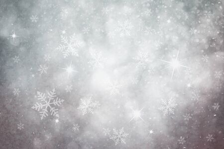 dreamy: Grunge pastel silver color snowflake and sparkle illustration background. Dreamy winter snowfall copy space background.