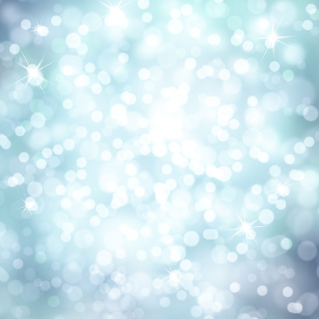 Soft blue colored abstract winter holiday bokeh background with sparkle. Beautiful bright blue colored New Year and Christmas Holiday bokeh illustration with copy space background.