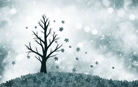 lonely tree: Soft dark blue colored autumn season tree with leaves in the wind. Lonely tree symbolizes sadness. Conceptual autumn season tree with leaves illustration with copy space background.