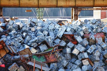 reusing: View of metal and aluminium debris.
