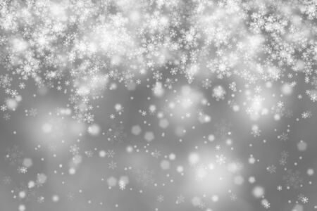 schneeflocke: Modern blurry silver abstract snowflake Christmas illustration background. Beautiful Christmas or New year Holiday snowfall copy space background.