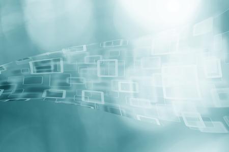 추상 사이버 공간 사각형 및 사각형 bokeh 흐리게 파란색 배경에 구름 컴퓨터.