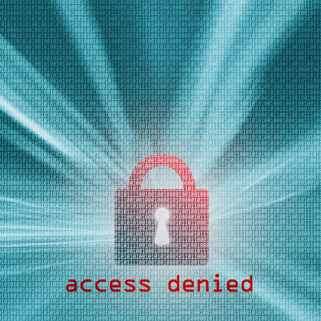 access denied: Access denied - red colored closed padlock with binary code background. Safety concept, square composition. Illustration. Stock Photo