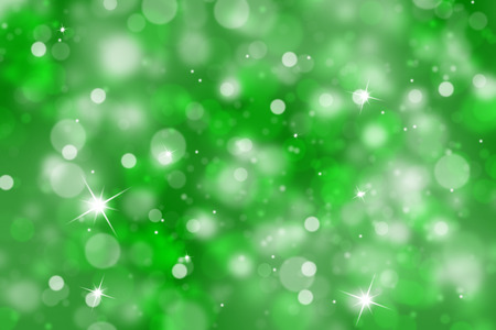 Abstract green color bokeh blurred background illustration with sparkle.