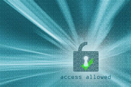 Access allowed - turquoise color open padlock with binary code background. Safety concept. Illustration. Stockfoto
