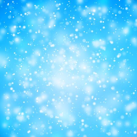 Blurry abstract bokeh lights on bright blue color background. Illustration.