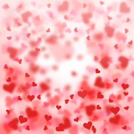 Lovely blurry red heart shape Valentines day illustration on bright background.