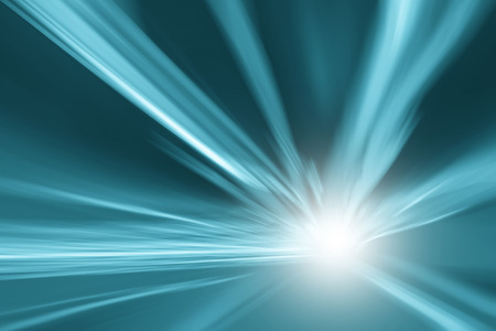Tunnel turquoise blue color lights acceleration speed motion blur background. Motion blur visualizies the speed and dynamics. Stockfoto