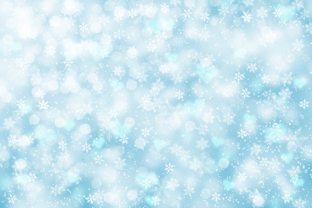 Bright and blurry soft blue color abstract snowflake New Year illustration background.