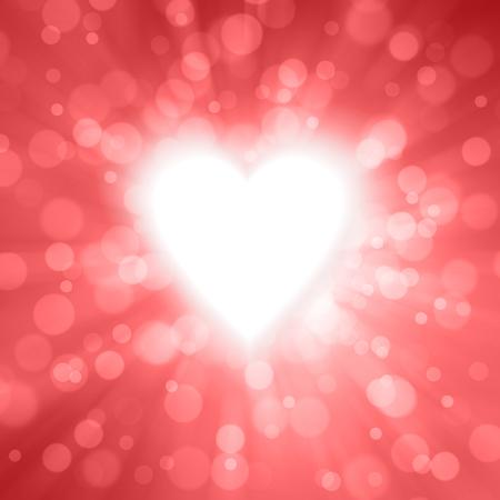 모션 및 방사형 흐리게 반짝이 붉은 색 발렌타인 하트 모양 그림 배경과 복사본 공간.