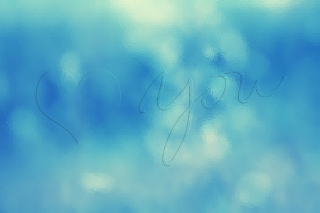 Cute shiny cyan blue heart badge copy space background with you handwriting on lovely blurred glass texture effect background. Glass effect used.